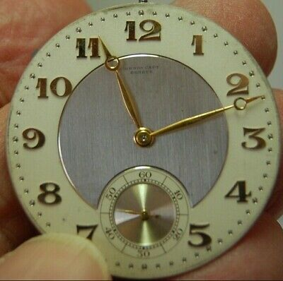 Vintage Pocket Watch MOVEMENT & DIAL ONLY_ _APPLIED GOLD ARABIC NUMERALS_ _INTER