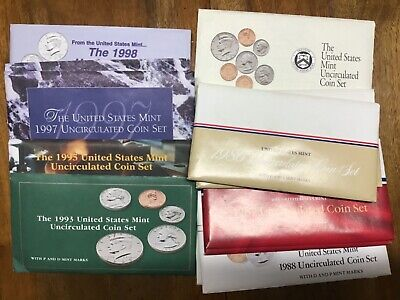 1986 - 1998 UNCIRCULATED U. S. MINT SETS, 12 sets, 8 different, 1986 to 1998