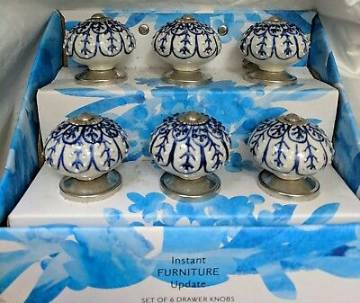 Instant Furniture Update S 6 Drawer Pulls Chrome Ceramic India Blue White