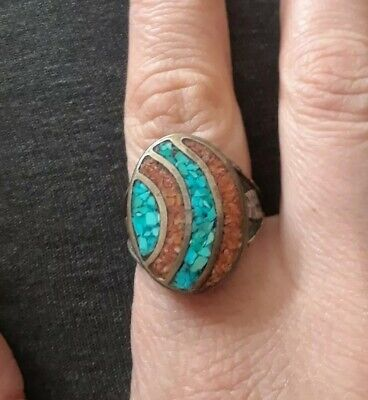 Vintage Navajo Sterling Silver & Turquoise & Coral Chip Inlay Ring