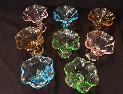 Set (8) Ice Cream/sherbert/pudding Dishes~Festive Ass't Colors~Used