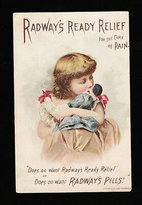 Original 1880s RADWAY'S READY RELIEF PILLS FOR PAIN TRADE CARD  - IN GERMAN