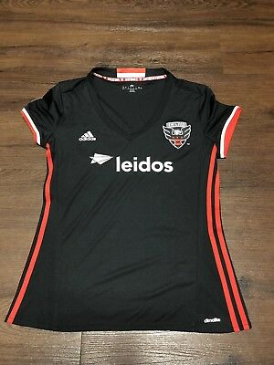 79d76d80b DC United Jersey Youth Large Leidos Black Representation Taxation MLS  Climacool