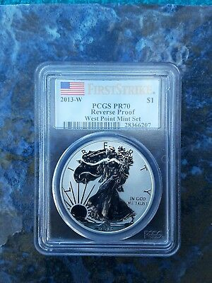 2013-W American Silver Eagle $1 PCGS PR70 First Strike Reverse Proof Rare Flag