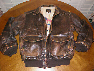 3d890cdbf97 Vintage AVIREX A-2 Brown Leather Flight Jacket Classic Styling Made in USA  sz M