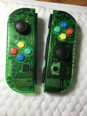 USED ​Nintendo Switch Custom Joycons Clear Jungle Green Joy Con
