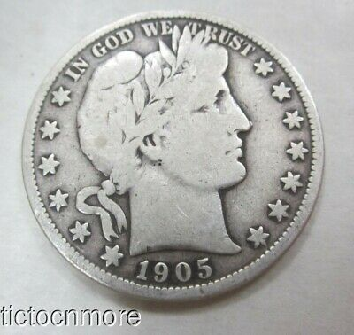 US 1905-S  50c BARBER SILVER HALF DOLLAR COIN FIFTY CENTS SAN FRANCISCO