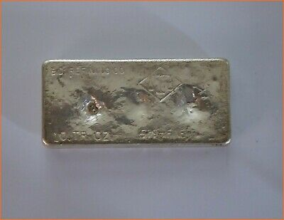 10 OZ Silver .999 VINTAGE HAND POURED BAR SAN DIEGO REFINING ART 3083