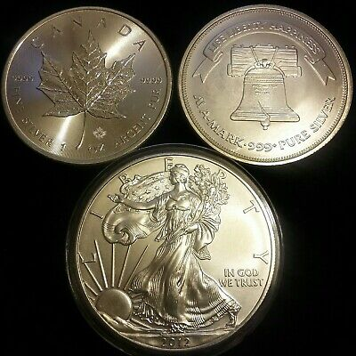 Lot 3 .999 Silver Coins 2012 SILVER EAGLE 2016 MAPLE LEAF & 1oz Silver Bullion