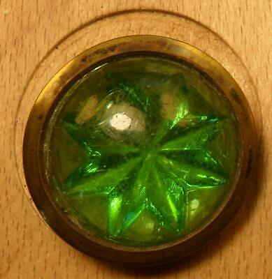 """NICE 1 1/8"""" Old Drum Green Glory Metal Antique Button 767:34"""