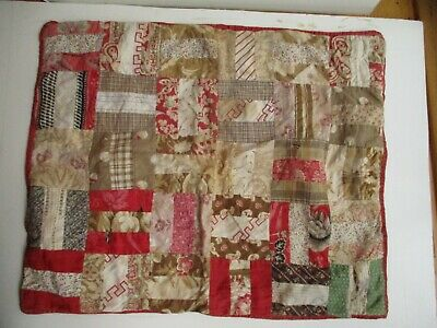 """19TH Century Doll Quilt Early fabrics 18 1/2"""" by 15"""" Chintz, Turkey Red, Calico"""