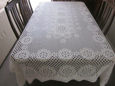Fabulous Vintage Cream Cotton Machine Made Banquet Tablecloth