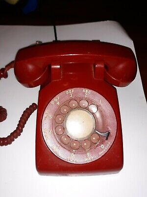 Vtg / Antique RED WESTERN ELECTRIC DESK TOP ROTARY DIAL TELEPHONE /BELL PHONE