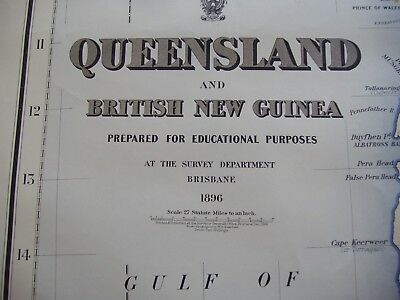 1896 Original Queensland & British New Guinea x3 Maps on thick paper 120cmx68cm