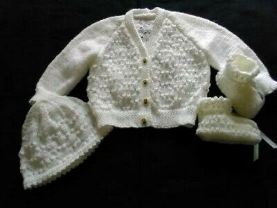 Hand Made white patten jacket cap and booties with hony bee buttons