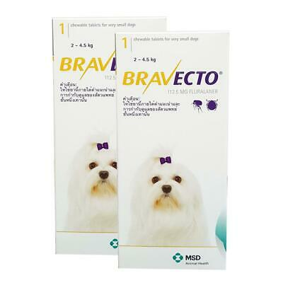 2 BOXES CHEWABLE TABLETS BRAVECTO 112.5mg. MINI XXS DOGS 2-4.5 Kg.  EXP 2020