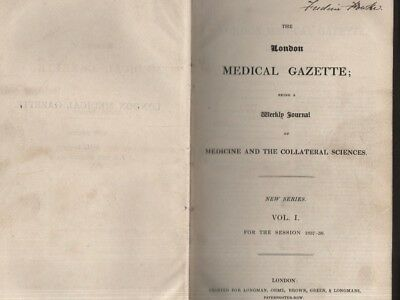 """Rare Bound Volume Of The Weekly """"London Medical Gazette"""" For The 1837-38 Session"""