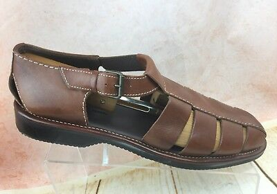 3c97fce1960 TOMMY BAHAMA M8010 Anchors Away Brown Leather Fisherman SANDALS 10 D Men s