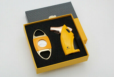 COHIBA Luxury Style Metal Cigar Lighter Cutter 3 Flame Windproof Lighters Set