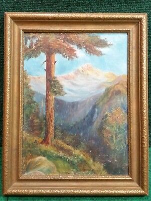 Vintage Original Oil Painting on Board by Hedges Framed 1928 Mountain Landscape