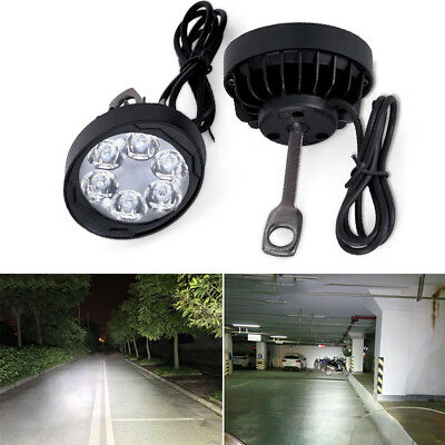 Black 2Pcs Motorcycle 6LED Fog Spot Motorbike Front Headlight Light Lamp 12-80V