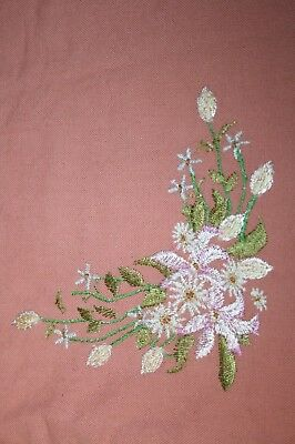 Vintage Hand Embroidered Table Runner - Flowers on Pink Cotton