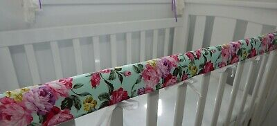 Floral Cot Rail Cover Pink Roses Aqua Background Crib Teething Pad  x 1 - LouLou