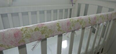 Floral Cot Rail Cover Pink Roses Crib Teething Pad  x 1 - Justine