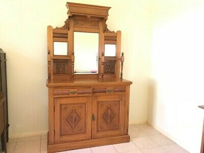 Antique Timber Buffet Sideboard with Ornate Carving and Beveled Mirrors Lovely