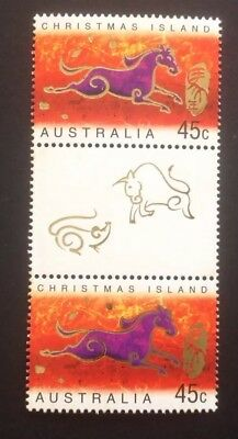 Christmas Island 2002 Lunar New Year - Year of the Horse - Gutter Pair MNH.
