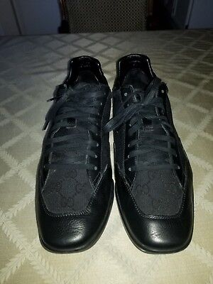 ee3778112 GUCCI Lombak Low-Top Sneakers Leather GG Canvas Black Men 10G/ US Size 11