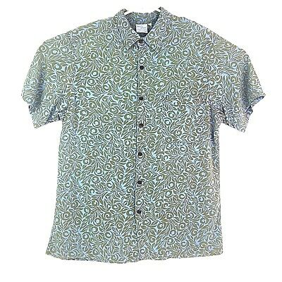 Vintage Blue Ginger Hawaiian Designs Mens M Rayon Shirt With Coconut Buttons