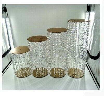 4pcs Luxury Crystal Cake Stand for wedding events and parties cake display