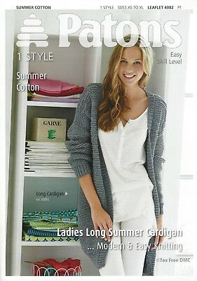 f877b59cc VAT Free Knitting PATTERN ONLY Patons Ladies Long Summer Cardigan 4082 New