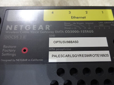 Netgear CG3000-1STAUS Optus Cable Broadband Wireless Modem Router