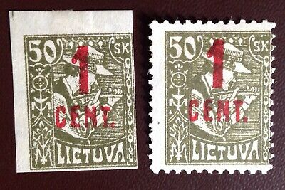 Lithuania 1922 1c on 50c Surcharge Perf & Imperf Mint