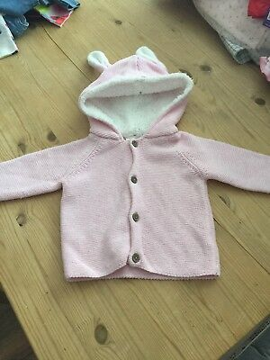 Next Pink Wollen Jacket With Rabbit Ears 3-6 Months
