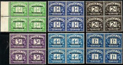 SoD Southern Rhodesia 1951 postage due set of 6 blocks iof 4 SG D1/D5,D7 MNH