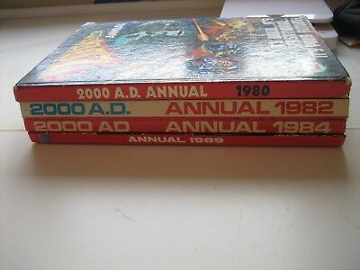 4 x 2000AD Annuals 1980, 1982,1984, 1989. FREE POSTAGE. My ref 122