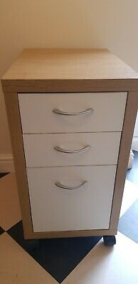 Under desk office cabinet wheeled in beech veneer and white