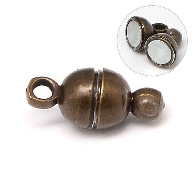 Pack of 4 Brass Magnetic Clasps Antique Bronze, Round, 11 x 5mm