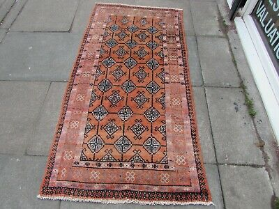 Old Hand Made Traditional Persian Rug Oriental Wool Red Orange Rug  187x95cm