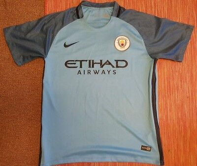 Manchester City 2017 Home Football Shirt Jersey.  Large Adult