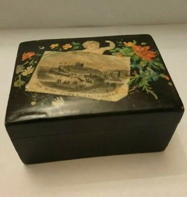 "Black Mauchline Box Decorated With A Cherub And Flowers. ""the Wish Tower Eastbou"