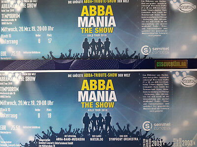 "ABBA MANIA THE SHOW ""GOLD TOUR 2019"" BERLIN TEMPODROM 20.03.2019 (2 Tickets)"