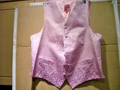 """Pink Pure Silk waistcoat Size 42-22""""pit to pit flat- LOVELY Marc Wallace Brand"""