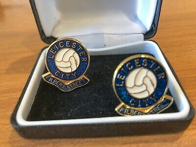 Classic LEICESTER CITY FC gold metal enamelled CUFFLINKS Football Club gift