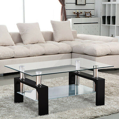 Modern Rectangular Black Glass Coffee Table Chrome Shelf Living Room Furniture