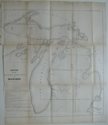 Original 1855 Public Land Survey Map MICHIGAN Keweenaw Bay Detroit River Saginaw