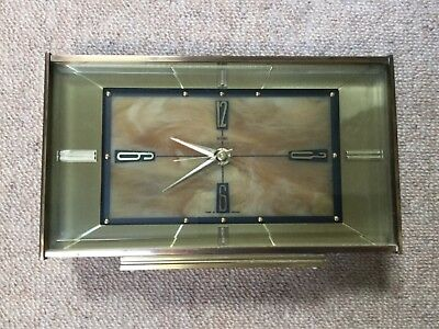 Metamec vintage mantle clock, working, possibly brass and onyx